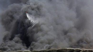 خمسة جرحى في حريق هائل في محطة قطار الحرمين في جدة
