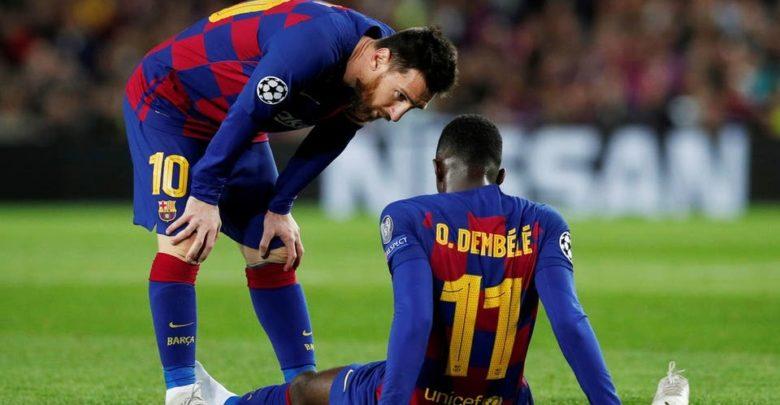 غياب عثمان ديمبيلي عن برشلونة حوالي 10 أسابيع