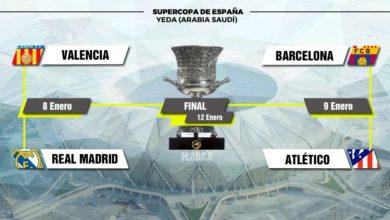 Photo of ريال مدريد يواجه فالنسيا بينما برشلونة يقابل أتلتيكو مدريد في نصف نهائي كأس السوبر الإسباني في السعودية