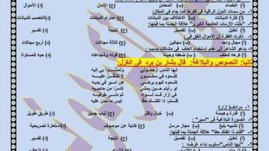 نموذج بابل شيت للصف الثاني الثانوي 2021 اللغة العربية