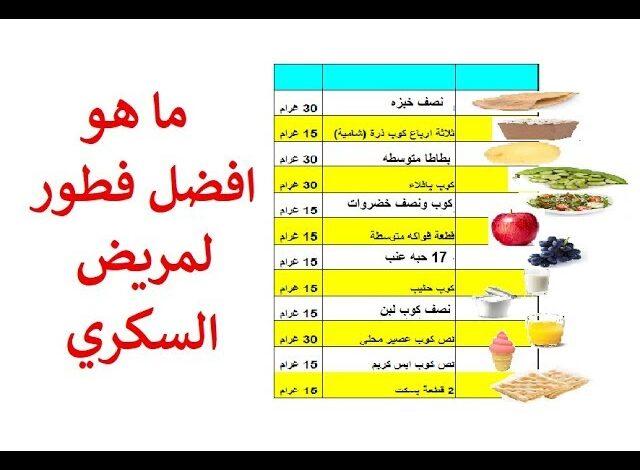 فطور وغداء وعشاء مريض السكر